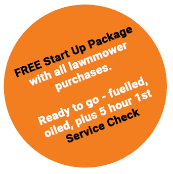 FREE Start Up Package with all lawnmower purchases. Ready to go - fuelled, oiled, plus 5 hour 1st Service Check.